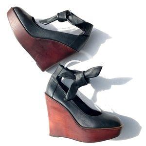 UO Sophie Ankle Tie Wood Wedge Heel Platform Shoes